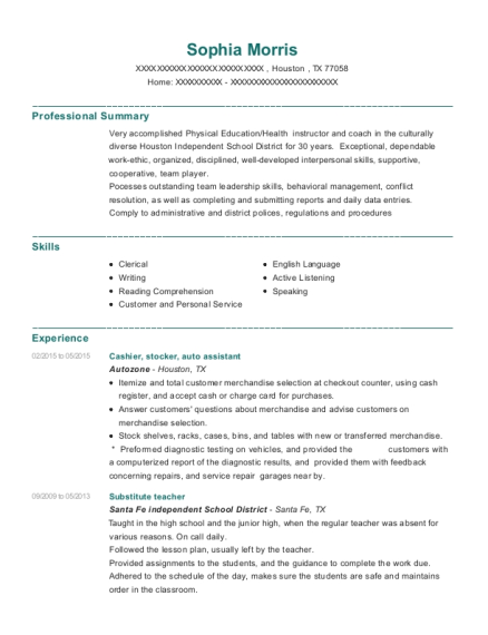 New Caney Isd Porter High School Physical Education Resume Sample