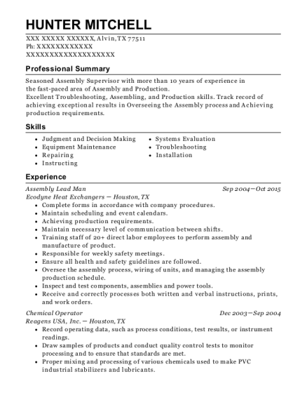 Assembly Lead Man resume example Texas