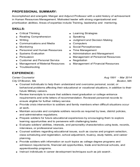 Career Counselor resume example Texas