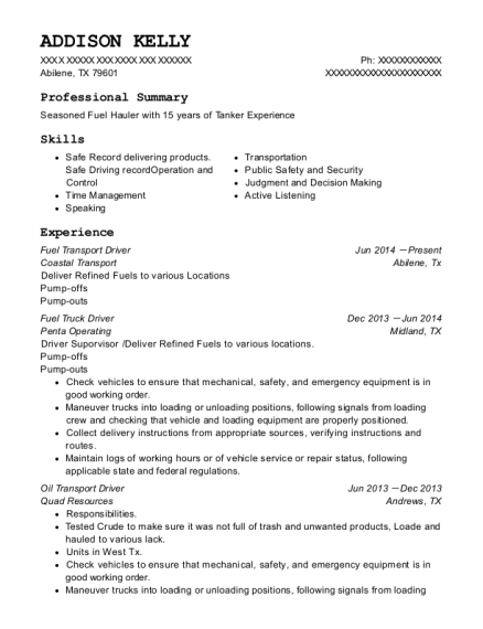 Fuel Transport Driver resume example Texas