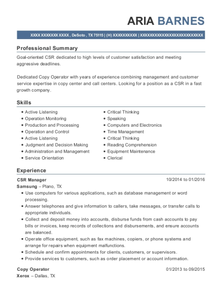 CSR Manager resume example Texas
