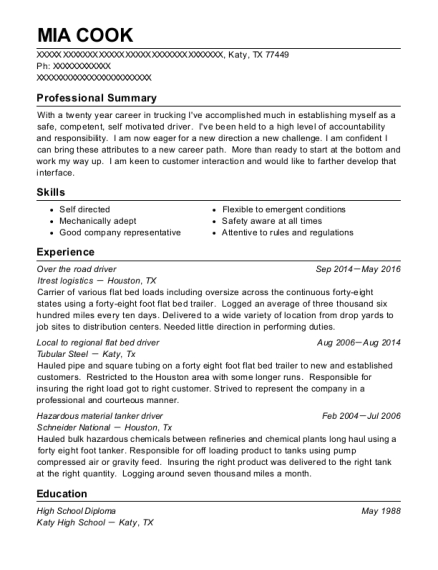 Over the road driver resume sample Texas