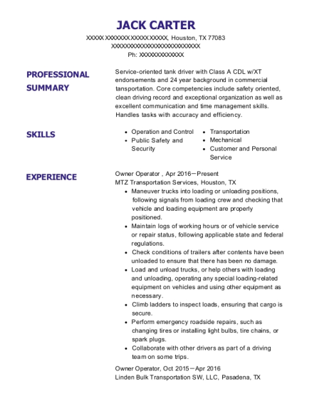 Owner Operator resume example Texas