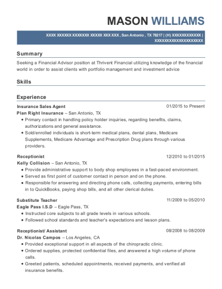 Insurance Sales Agent resume example Texas