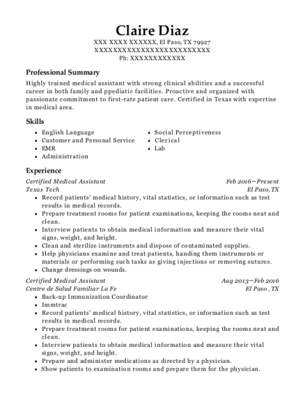 Certified Medical Assistant resume template Texas
