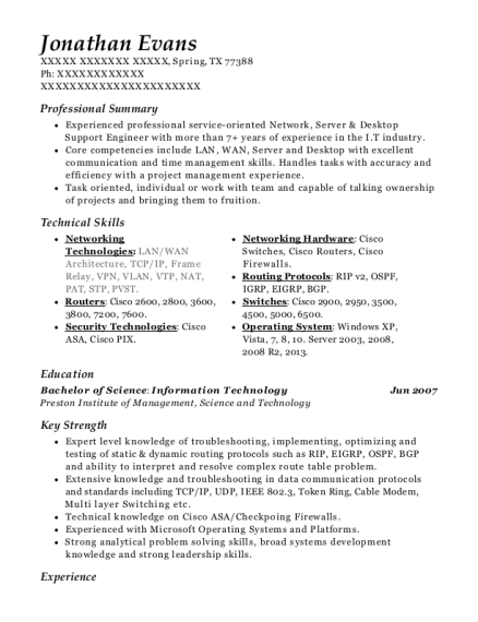 Network Support Engineer resume sample Texas