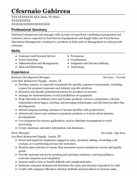 Business Development Manager resume example Texas