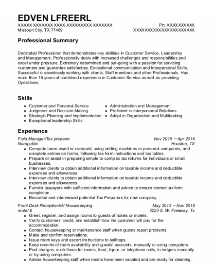 Field Manager resume sample Texas
