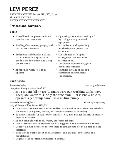 Water transfer resume template Texas