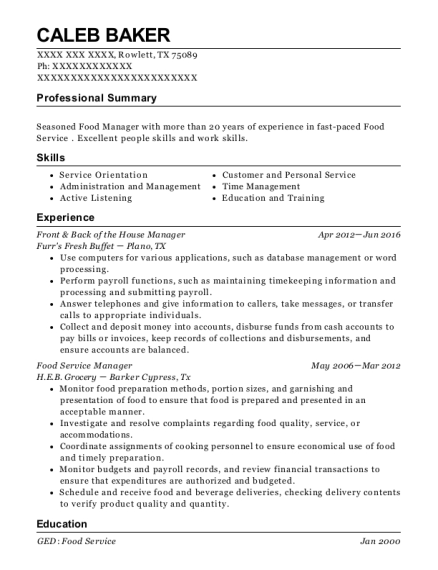 Front & Back of the House Manager resume template Texas