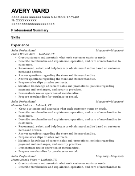 Sales Professional resume example Texas