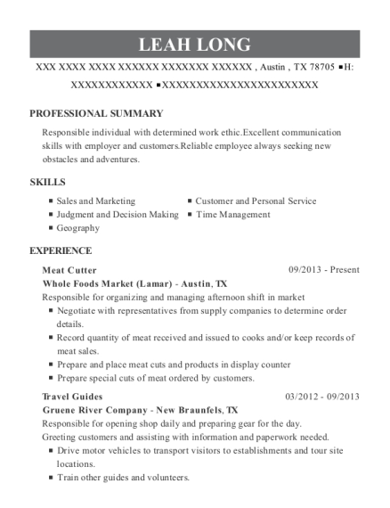 Meat Cutter resume sample Texas