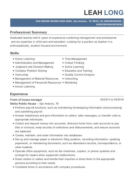 Front of House Manager resume example Texas