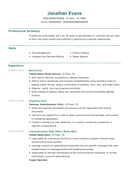 Mail Carrier resume sample Texas