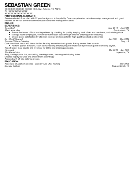 Sous Chef resume example Texas