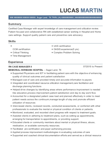 RN CASE MANAGER II resume template Texas