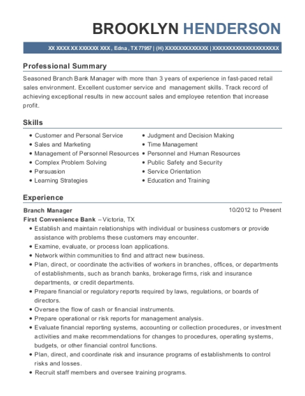 Branch Manager resume format Texas
