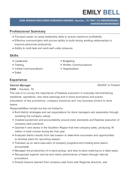 District Manager resume format Texas