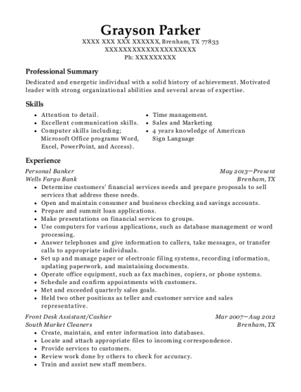 Personal Banker resume sample Texas