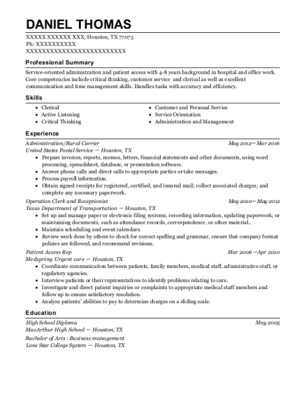 Administration resume example Texas