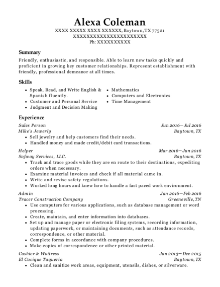 Sales Person resume example Texas
