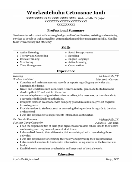 Student Assistant resume example Texas