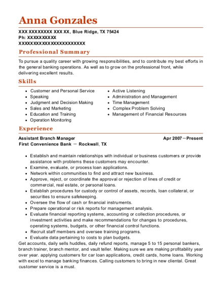 Assistant Branch Manager resume sample Texas