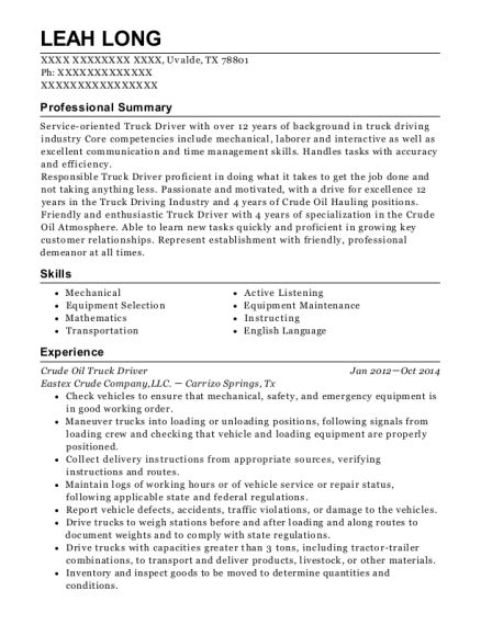 Crude Oil Truck Driver resume sample Texas