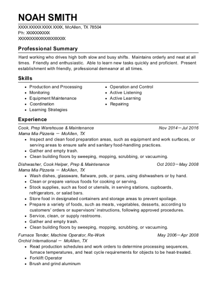 Cook resume sample Texas