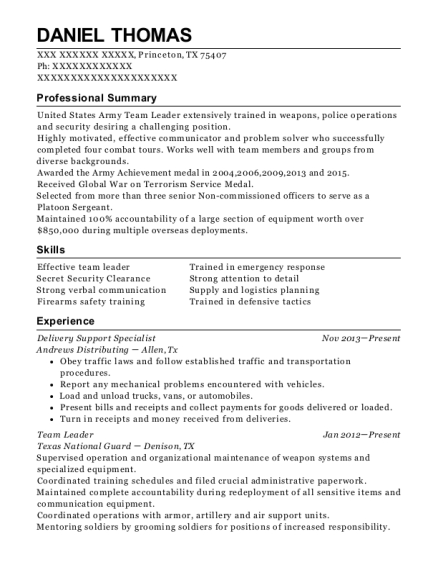 Delivery Support Specialist resume format Texas
