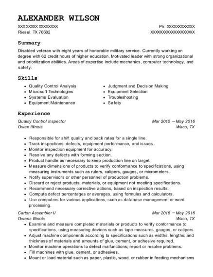 Quality Control Inspector resume template Texas