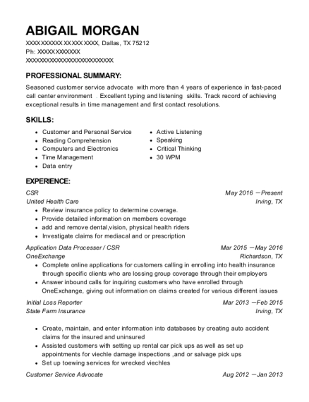CSR resume template Texas