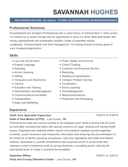 Youth Care Specialist Supervisor resume sample Texas