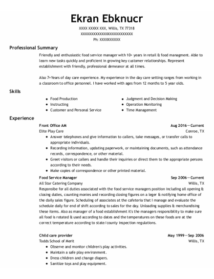 Food Service Manager resume sample Texas