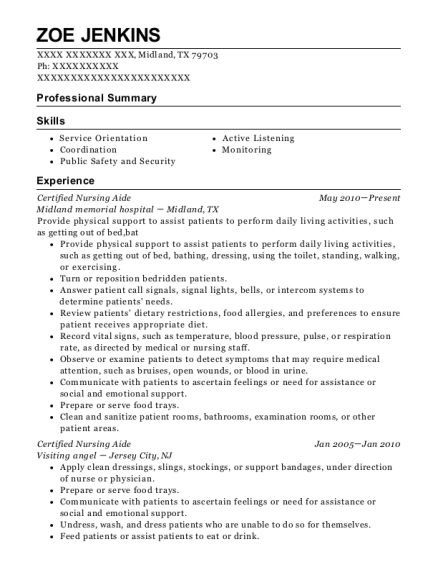 Certified Nursing Aide resume sample Texas