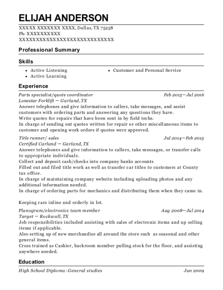 Parts specialist resume example Texas