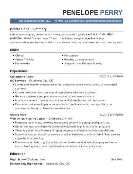 Collections Agent resume template Texas