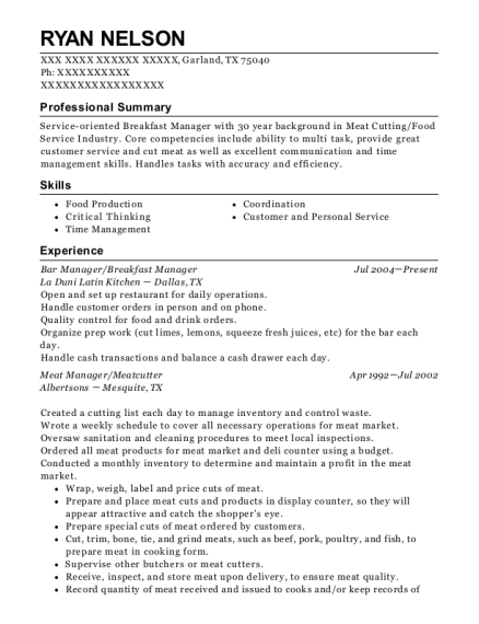 Bar Manager resume format Texas