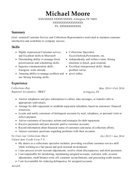 Collections Rep resume format Texas