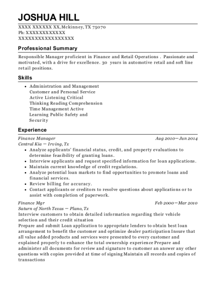 Finance Manager resume example Texas