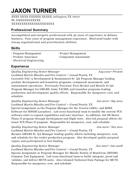 Quality Engineering Senior Manager resume sample Texas