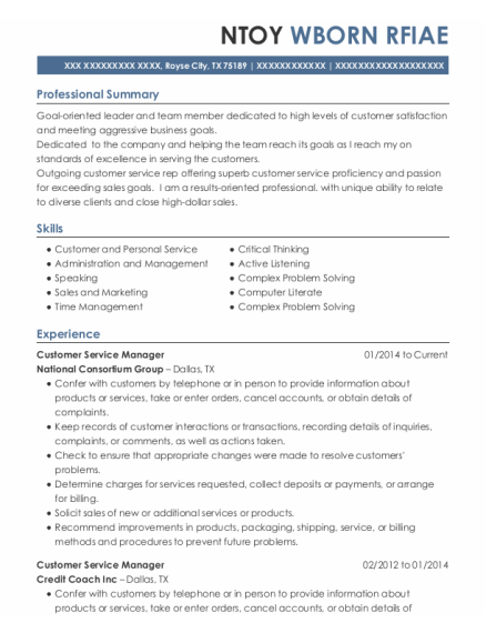 Customer Service Manager resume format Texas