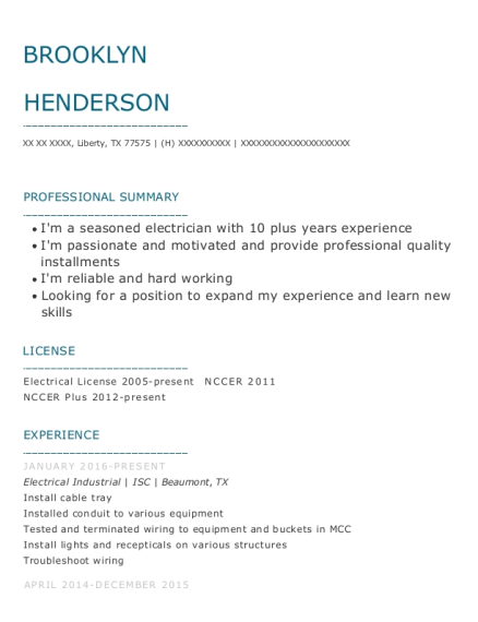 Electrical Industrial resume format Texas