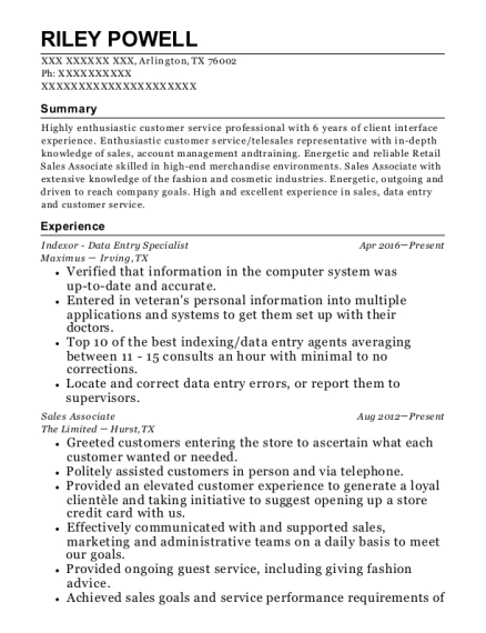 Indexor Data Entry Specialist resume format Texas