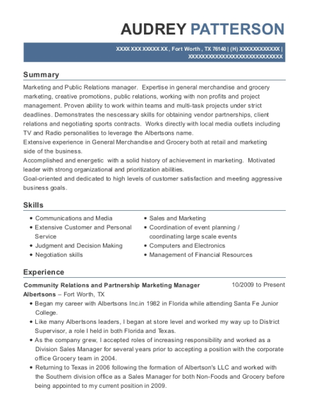 Community Relations and Partnership Marketing Manager resume example Texas