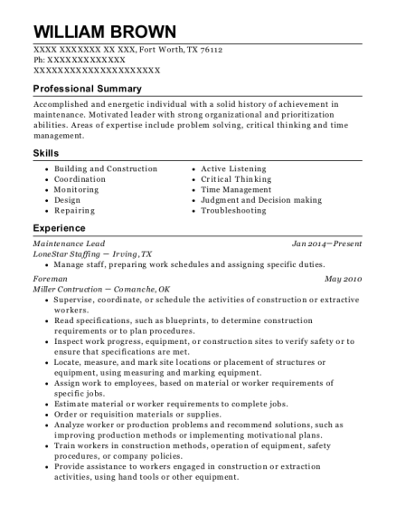 Maintenance Lead resume sample Texas