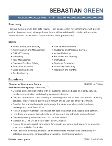 Director of Operations Salary resume example Texas