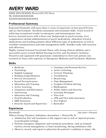 Paramedic resume sample Texas
