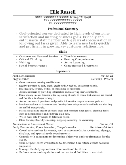 Staff Member resume sample Texas