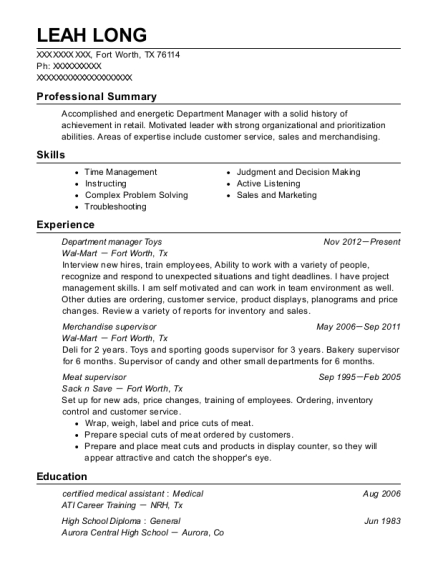 Department manager Toys resume example Texas